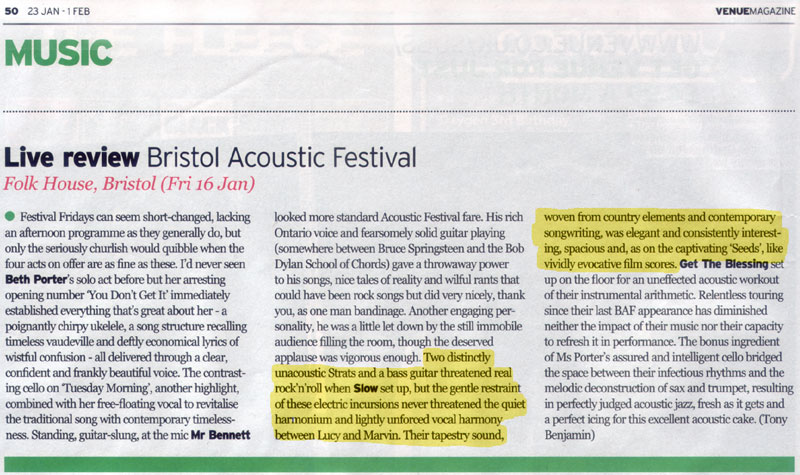 Slow at the Bristol Acoustic Festival Jan 2009 - Review in Venue Magazine